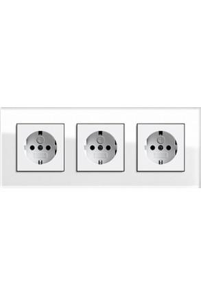 Trei prize Schuko GIRA Esprit cu ramă triplă sticlă albă