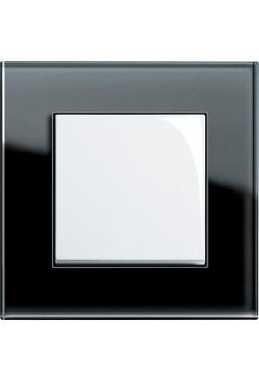 Întrerupator simplu GIRA alb lucios cu ramă simplă sticlă neagră
