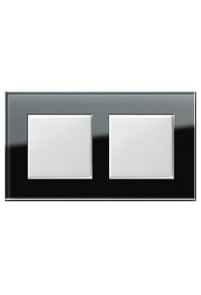 Doua întrerupatoare simple GIRA alb lucios cu ramă dublă sticlă neagră