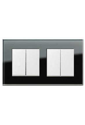 Două întrerupătoare duble GIRA Esprit alb lucios cu ramă dublă sticlă neagră