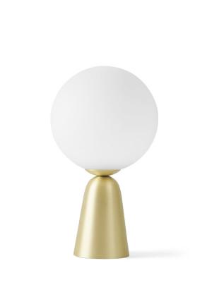 Lunar I - Lampă de masă aurie cu abajur alb din sticlă