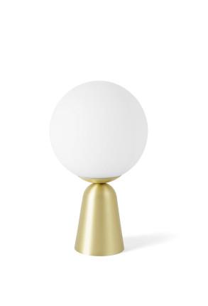 Lunar II - Lampă de masă aurie cu abajur alb din sticlă