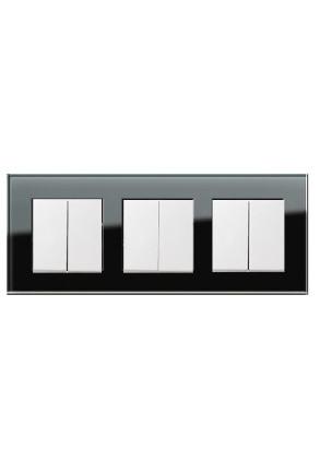Trei întrerupatoaree duble GIRA alb lucios cu ramă triplă sticlă neagră