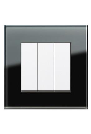 Întrerupator triplu GIRA alb lucios cu ramă simplă sticlă neagră