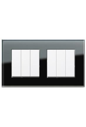 Două întrerupătoare triple GIRA Esprit alb lucios cu ramă dublă sticlă neagră