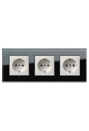 Trei prize Schuko GIRA Esprit alb lucios  cu ramă triplă sticlă neagră