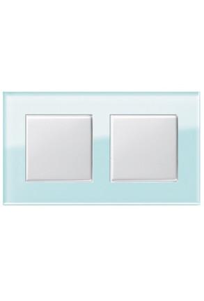 Două întrerupătoare simple GIRA Esprit alb lucios cu ramă dublă sticlă mint