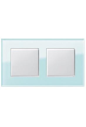 Doua întrerupatoare simple GIRA alb lucios cu ramă dublă sticlă mint
