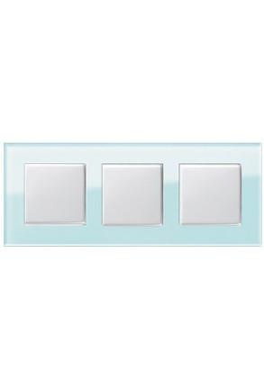 Trei întrerupatoare simple GIRA alb lucios cu ramă triplă sticlă mint