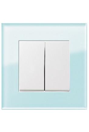 Întrerupător dublu GIRA Esprit alb lucios cu ramă simplă sticlă mint