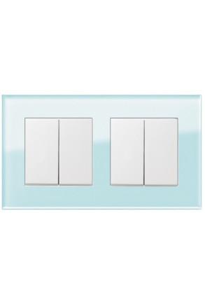 Două întrerupătoare duble GIRA Esprit alb lucios cu ramă dublă sticlă mint