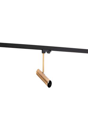 LINK GU10 - Proiector pe șină bronz cu finisaj negru ajustabil din oțel