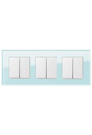 Trei întrerupatoaree duble GIRA alb lucios cu ramă triplă sticlă mint