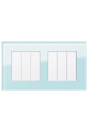 Două întrerupătoare triple GIRA Esprit alb lucios cu ramă dublă sticlă mint