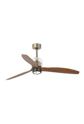 Deco - Ventilator Smart cu lumină auriu din lemn
