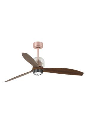 Deco - Ventilator Smart cu lumină maro din lemn