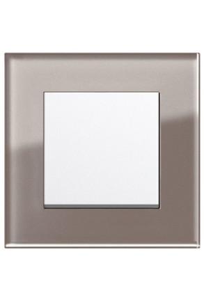 Întrerupător simplu GIRA Esprit alb lucios cu ramă simplă sticlă umbră