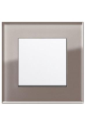 Întrerupator simplu GIRA alb lucios cu ramă simplă sticlă umbră
