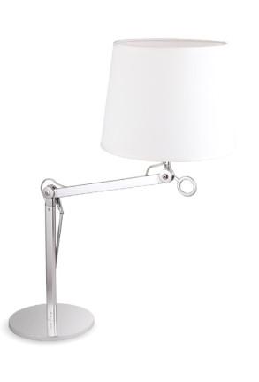 Terra L - Lampă de podea albă cu braț reglabil