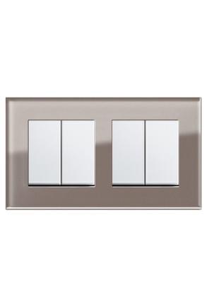 Două întrerupătoare duble GIRA Esprit alb lucios cu ramă dublă sticlă umbră