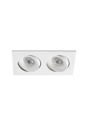 Argon 2xGU10/MR16 /LED - Spot încastrat alb rectangular din aluminiu cu 2 surse de lumină