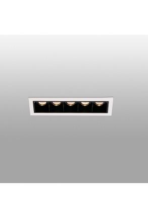 TROOP 5x2W - Spot încastrat negru cu ramă albă din aluminiu cu 5 surse de lumină