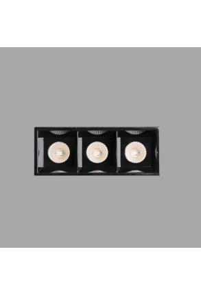 TROOP 3x2W - Spot încastrat negru cu efect lucios cu 3 surse de lumină
