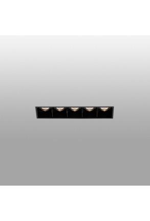 TROOP - Spot încastrat negru din aluminiu cu 5 surse de lumină