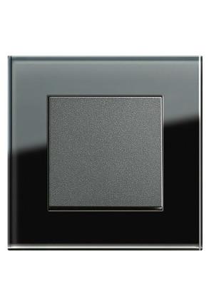 Întrerupator simplu GIRA antracit cu ramă simplă sticlă neagră