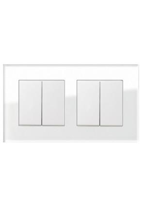 Două întrerupătoare duble GIRA Esprit alb lucios cu ramă dublă sticlă albă
