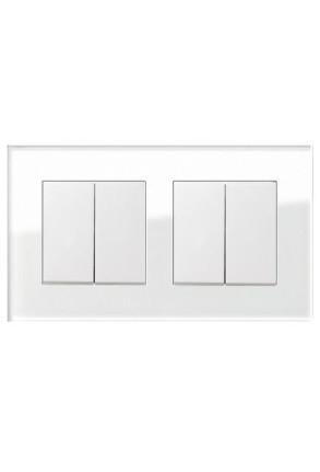 Doua întrerupatoare GIRA duble alb lucios cu ramă dublă sticlă albă
