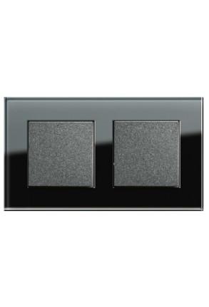 Două întrerupătoare simple GIRA Esprit antracit cu ramă dublă sticlă neagră