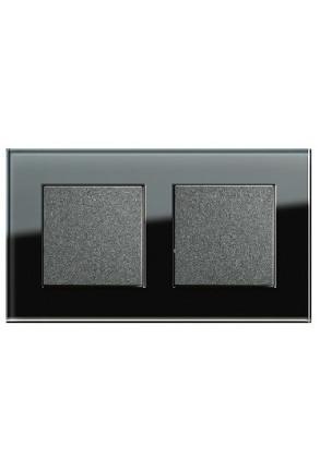 Doua întrerupatoare simple GIRA antracit cu ramă dublă sticlă neagră
