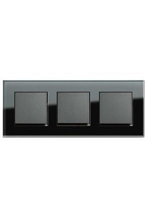 Trei întrerupatoare simple GIRA antracit cu ramă triplă sticlă neagră