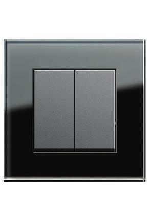 Întrerupator dublu GIRA  antracit cu ramă simplă sticlă neagră