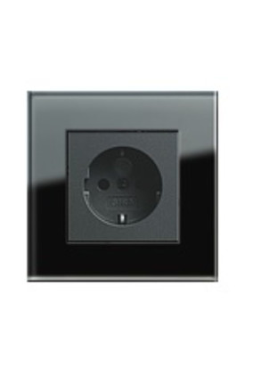 Priză Schuko GIRA Esprit antracit cu ramă simplă sticlă neagră