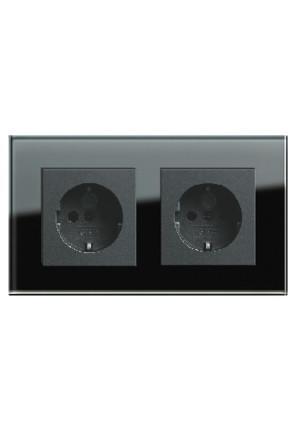 Două prize Schuko GIRA Esprit antracit cu ramă dublă sticlă neagră