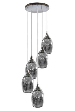 Marina - Lustră cromată cu 5 abajururi din sticlă