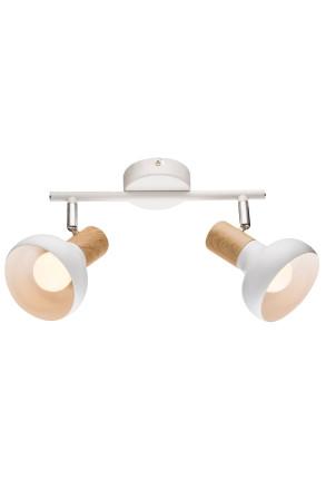 Puerto Spot - Plafonieră albă cu 2 surse de lumină ajustabile cu finisaj de lemn