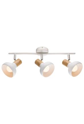 Puerto Spot - Plafonieră albă cu 3 surse de lumină ajustabile cu finisaj de lemn