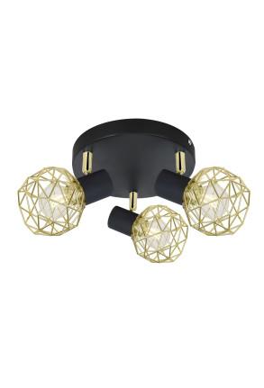 Acrobat III - Plafonieră neagră cu abajur auriu ajustabil