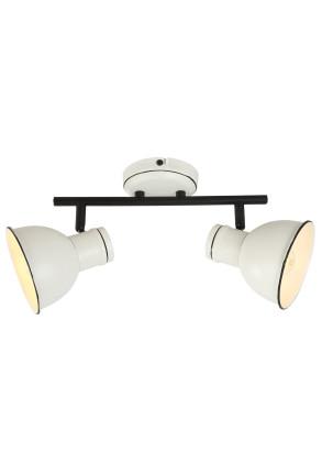 Zumba - Plafonieră albă cu 2 surse de lumină ajustabile cu finisaj negru