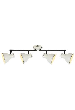 Zumba - Plafonieră albă cu 4 surse de lumină ajustabile cu finisaj negru