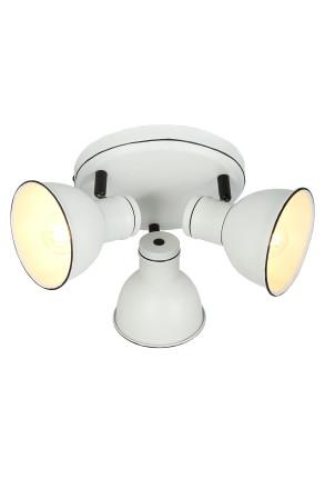 Zumba - Plafonieră albă cu 3 surse de lumină ajustabile cu finisaj negru