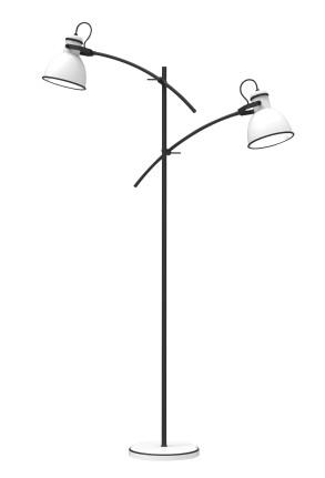 Zumba II - Lampă de podea albă cu 2 surse luminoase și finisaj negru