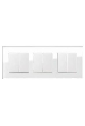 Trei întrerupatoare GIRA duble alb lucios cu ramă triplă sticlă albă