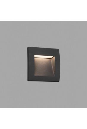 Sedna 90 LED - Lampă încastrată în perete gri din aluminiu