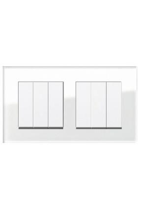 Doua întrerupatoare GIRA triple alb lucios cu ramă dublă sticlă albă