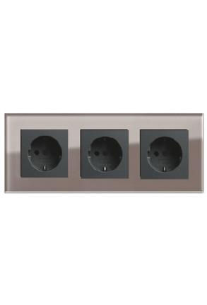 Trei prize Schuko GIRA Esprit antracit cu ramă triplă sticlă umbră