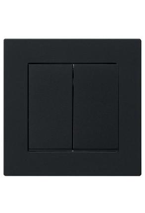 Întrerupator dublu GIRA cu ramă simplă negru mat si doza pentru perete gips-carton